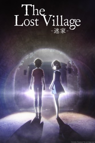 "A boy and a girl walking through a tunnel at night, with a bus heading towards them. The title reads ""Lost Village""."