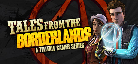 "A man and woman standing next to the words ""Tales from the Borderlands, A Telltale Game Series"""