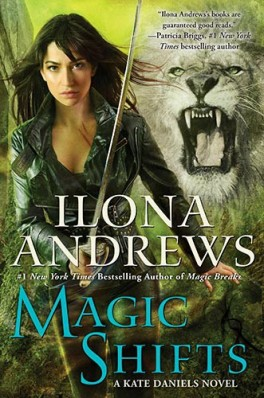 "A woman wields a sword, with a lion behind her. The words read ""Ilona Andrews, #1 New York Times Bestselling Author of Magic Breaks, Magic Shifts, A Kate Daniels novel."""
