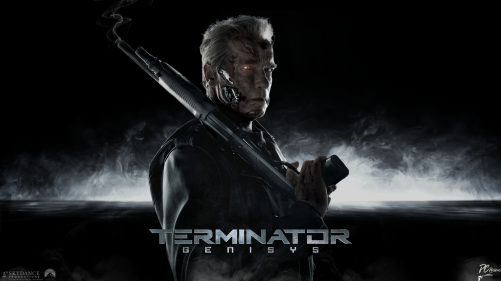 "A picture of a man with parts of his skin wounded enough to reveal metal underneath, holding a smoking shotgun, in front of a black font with some fog. The words ""Terminator Genisys"" are written over him."
