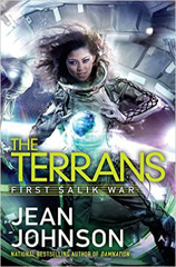 """A woman floating in a spaceship, forming a ball of energy in front of her with hands. The writing reads """"The Terrans, First Salik War, Jean Johnson."""""""