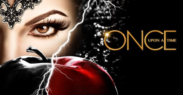 "The face of a woman off to the side, with an apple in front of her, half black and half red. The words ""Once Upon a Time"" fill the other side of the image."