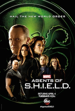 "The agents of SHIELD over the green background, with an octopus symbol on it, the words read ""Hail the new world order, Marvel, Agents of SHIELD"""