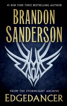 """A symbol over a blue background, the words say """"#1 New York Times Bestselling Author Brandon Sanderson, From the Stormlight Archive, Edgedancer"""""""