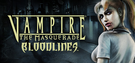 """A woman with fangs stands in front of a dark, empty city street. The words read """"Vampire, the Masquerade, Bloodlines."""""""