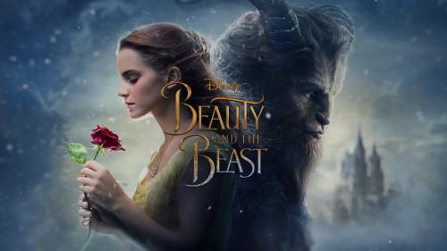 "Belle and the Beast stand in front of a winter landscape, Belle holding a rose. The text reads ""Disney, Beauty and the Beast."""