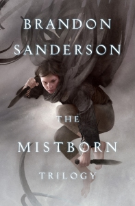 """A woman with a knife flying through the air. The text reads """"Brandon Sanderson, The Mistborn Trilogy."""""""
