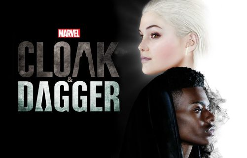 "The image of a man and woman's faces over a dark background. The text reads ""Marvel, Cloak and Dagger."""