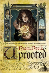 "A woman stands in a window with a rose. There is imagery of trees and plants, along with birds and dragons. The words read ""Naomi Novik, Uprooted."""