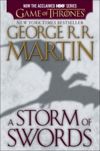 "The shadow of a dragon. The text reads, ""Now the acclaimed HBO series Game of Thrones, New York Times Bestseller George R.R. Martin, A Storm of Swords."""