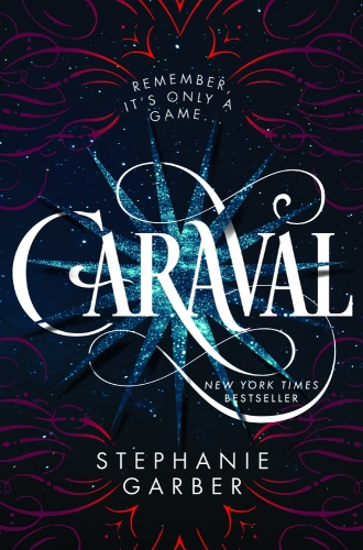 "A pattern is visible over a night sky. The text reads ""Remember it's only a game...Caraval, New York Times Bestseller, Stephanie Garber."""