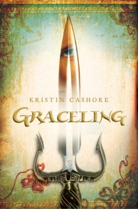 """A dagger with a woman's face reflected on the blade. Text reads, """"Kristin Cashore, Graceling."""""""