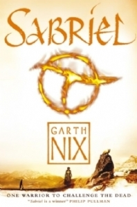 "A glowing symbol over a bright wasteland. The text reads ""Sabriel, Garth Nix, one warrior to challenge the dead, 'Sabriel is a winner' - Philip Pullman."""