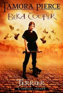 "A woman with a cudgel, with a cat by her feet and birds flying around her. The text reads ""Tamora Pierce, Beka Cooper, Terrier, A Tortall Legend."""