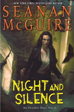 "A woman with a knife. The text reads ""New York Times Bestselling Author Seanan McGuire, Night and Silence, An October Daye Novel"""